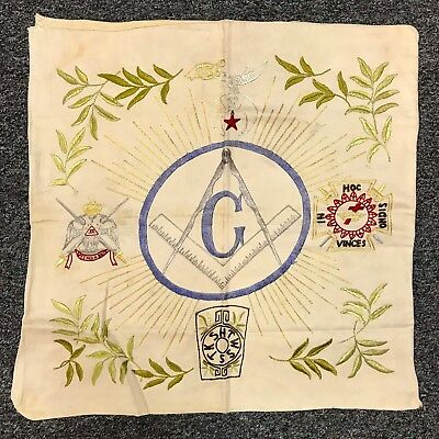 Antique Masonic Pillow Case 19Th Century Embroidery Rare Freemasonry