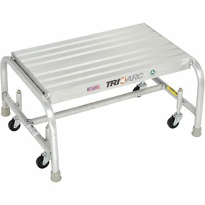 Tri Arc WLAR001244 1 Step Mobile Aluminum Step Stand w/ Solid Ribbed Top Step &