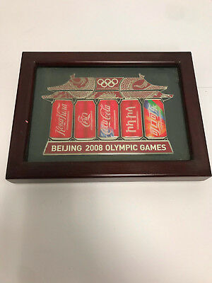 RARE 2008 Beijing Olympics Coca Cola pin set framed pagoda 5 cans 5 languages