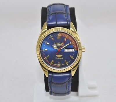 Vintage Citizen Gold Plated Luxury Wrist Watch Automatic 21 Jewels Day & Date