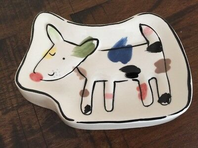Jenny Faw Spotted Colored Dog Soap Tray Bowl Trinket Childs Dresser Dish EUC