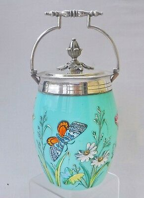 Superb Victorian Opaline Enamelled Glass Biscuit Barrel