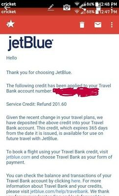 jetblue airline credits worth $201 selling at $180 lowest
