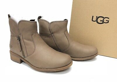 6cf8106c4d7 UGG AUSTRALIA LAVELLE Camel Brown LEATHER SHEEPWOOL LINED ANKLE BOOTS  1012553