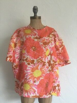 Vintage 50's 60's Fritzi Calfornia Womens Small Crop Top Blouse Shirt Floral