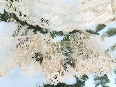 Antique Hand Made French Dot Needle Net Lace Valenciennes Small Doll Trim Lot
