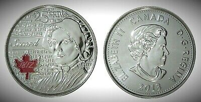 Canada 2013 War of 1812 Secord Colourized 25 Cents UNC Gem BU!!