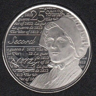 Canada 2013 War of 1812 Secord Frosted 25 Cents UNC Gem BU!!