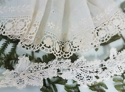 Antique Embroidered Batiste Fabric Lace Edging Doll Dress VTG Sewing Trim Lot