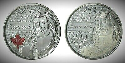 Canada 2012 War of 1812 Tecumseh Colourized & Frosted 25 Cents UNC Gem BU!!