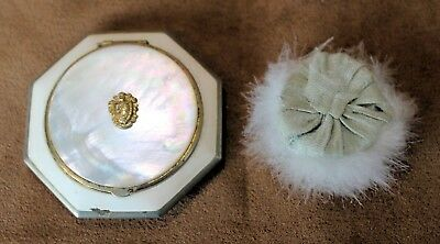 Vintage VANITY CASE COMPACT, Octagon, Powder/Rouge, Mother of Pearl + Extra Puff