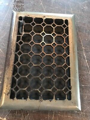 P 17 Antique wall mount heating grate cleaned and lacquered with crack