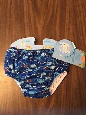 NEW iPlay Toddler Reusable Absorbent Swimsuit Swim Diaper - Blue Whales - 24 M