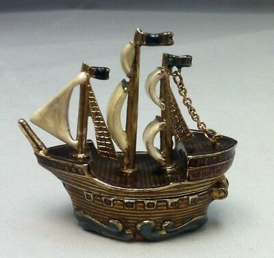 Genuine Monet Pirate Ship Hinged Figure Trinket Excellent Condition!! RARE