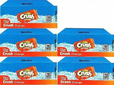 Orange Crush Labels 5 Small 12oz Can Soda Vending Machine Calories Flavor Labels