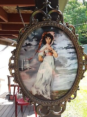 "Antique HIMARK Picture of Victorian Young Lady ""PINKIE"" 1794  Ornate Metal Frame"