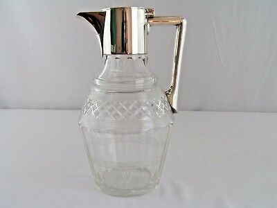 Antique Silver Plate & Cut Glass John Grinsell & Sons Claret Wine Pitcher 17958