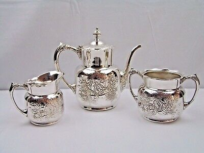 Antique Pairpoint Aesthetic Silverplated Dogwood Reposse Coffee Set 3Pc #327 VGC