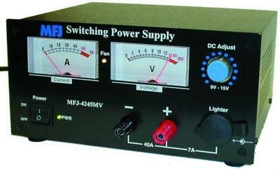 MFJ-4245MV Adjustable Voltage (9-16V) 45A Switching Power Supply with Meters