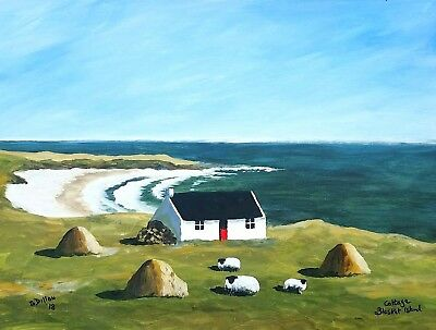 Original Irish Paintings,Irish Art,Cottage on Blasket Island, by Gerry Dillon.