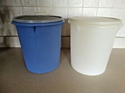 2 Tupperware Giant Canisters, 36 Cups each, Blue & White