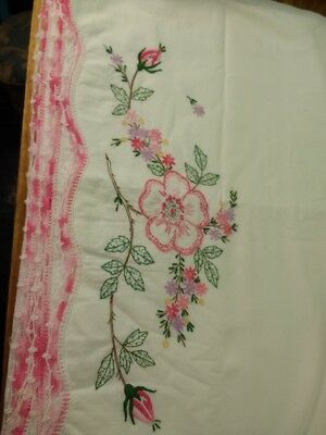 Pair of Vintage Embroidered Pillowcases with Roses