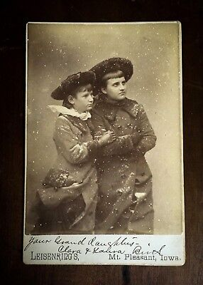 Antique Cabinet Card Young Girls Sisters Fake Faux Snow - Mt. Pleasant, Iowa