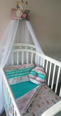 🔎zoom Description Boho Indian Cactus & Dreamcatcher Aqua Crushed Velvet Cot