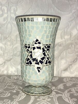 Mosaic Hurricane Star of David Glass Tiles Candle Holder/Vase