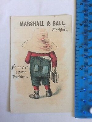 Marshall & Ball Clothiers New Jersey Victorian Trade Advertising Card c.1900