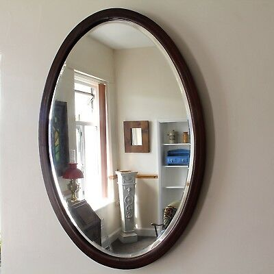 Antique Regency Bevelled Edge Oval Mirror Inlaid Mahogany Frame c.1815