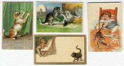 CAT Kittens 4 Victorian Cards 1880's Animals Playing Tail Pulled Tearing Drapes