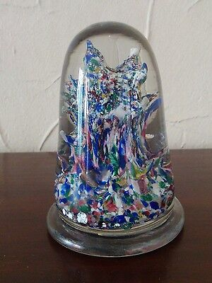Rare Mid 19Th Century French Millefiori Scrambled Glass Tapered Dome Paperweight