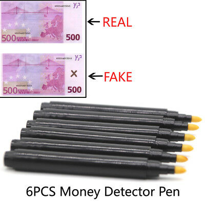 6X Counterfeit Bill Detector Pen Detection Counterfit Marker Fake Money TesterUS