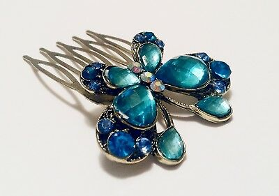Butterfl Design Bridal Hair Comb Stick  Crafted with Rhinestones in Blue Color