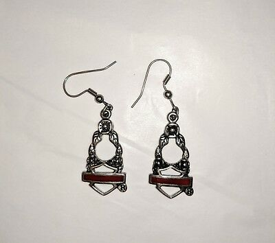 Harley Davidson Earrings Silver Floral Design HD Logo with Red Accent
