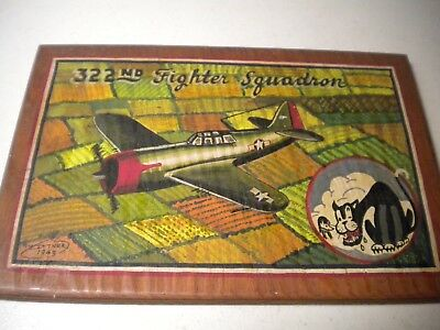 WWII 1943 Hand-Painted USAAF Plaque- 322ND Fighter Squadron SIGNED~DATED