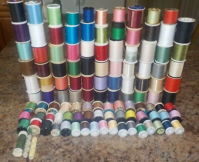 Huge Lot Sewing Thread Cotton Polyester Full and Partial Spools 114+ Spools