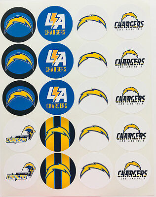 """SET of 20- 2"""" LOS ANGELES CHARGERS ADHESIVE STICKERS.Make Cupcake Toppers!"""