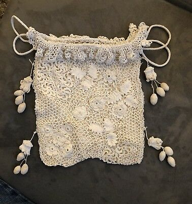 """Antique Reticule Purse Hand-Crocheted With Drawstring & Tassels 6""""x9"""" Silk Lined"""