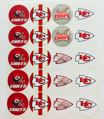 """SET of 20- 2"""" KANSAS CITY CHIEFS ADHESIVE STICKERS.Make Cupcake Toppers!"""