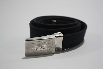 "TWA Trans World Airlines Women's TWA Belt Stretch 1"" Metal Buckle Stamped Polo"