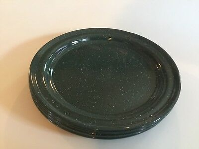 """Outdoors Speckled Green Enamelware 10 3/8"""" Metal Plates      #58"""