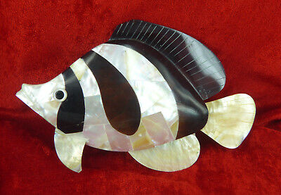 Mother Of Pearl Shell Beautiful Angel Fish Ideal For Interior Decor Or Display