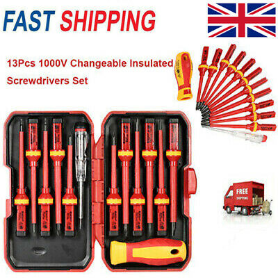 13pcs 1000V Changeable Insulated Screwdrivers Set with Magnetic Slotted B4O8