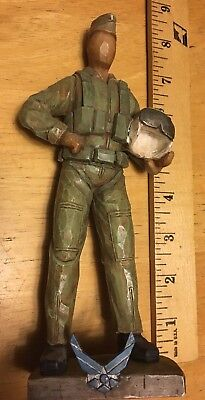 "2002 We The People 7 3/4"" resin statue #27016- Air Force pilot standing w/helmet"