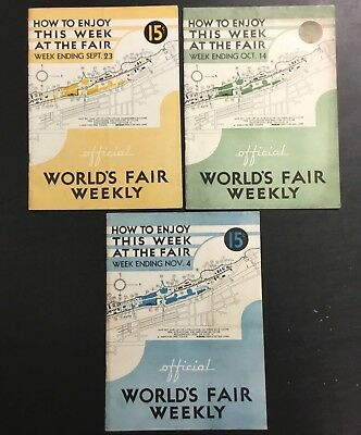 LOT (3) 1933 Chicago, IL World's Fair WEEKLY OFFICIAL HOW TO ENJOY THIS WEEK VTG