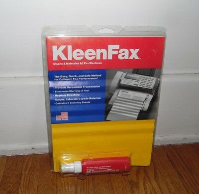 KLEENFAX FOR FAX MACHINES CLEAN & MAINTAIN 1 fl. oz 6 CLEANING SHEETS USA