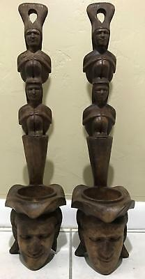 2pc Vintage Carved Ethnographic African ? Wood Face Tribal Wall Hangers