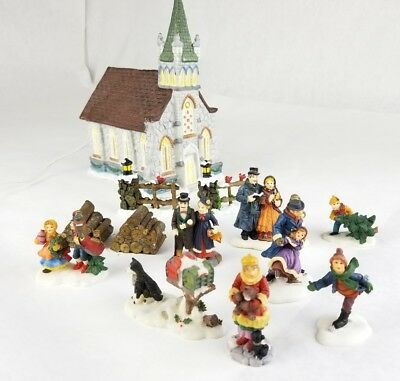 Christmas Village People Trees Figures Huge Lot 13 pieces dickens church works